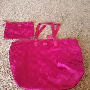 Pink Coach Travel Bag